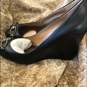 Coach - Black/ Silver wedges shoes